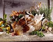 chicken and vegetable still life