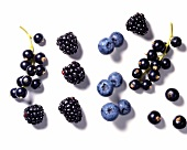 Blackcurrants, blackberries and blueberries