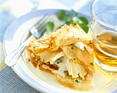 Crepe filled with Camembert and glass of Breton cider