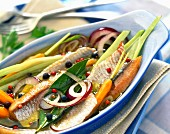 herring fillets in oil with vegetables