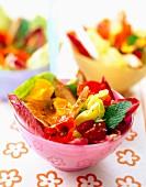 Chicken breast and nasturtium salad