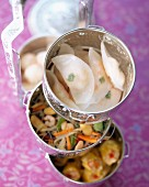Steamed Chinese food and vegetables