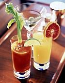 Citrus cocktails: Martini, Bloody Mary and Screw Driver