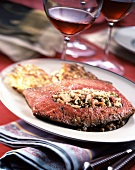Stuffed rib of beef