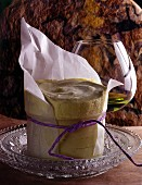 Ice cream soufflé with Chartreuse herb liqueur