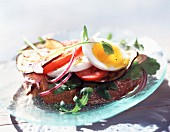 Egg and salad open sandwich