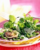 Purslane, new bean and artichoke salad