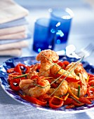 Dublin Bay prawns with red peppers