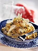 Fettucini pasta with pecorino cheese and walnuts