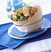 Tabbouleh salad with tenderloin of pork
