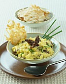 Scrambled eggs with Morel mushrooms and filo pastry wafers