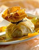 Mandarin and vanilla filo pastry parcels