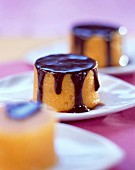 Sweet potato flan with chocolate sauce