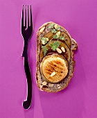 Grilled goat's cheese and aubergine open sandwich