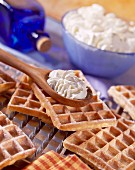 waffles with whipped cream and orange flower water