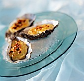 Hot oysters with saffron cream
