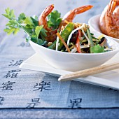 Pan-fried mediterranean prawns with chinese vegetables