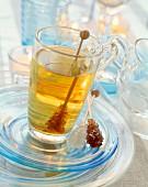 Herb tea and sugar sticks