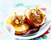 Stuffed browned peaches