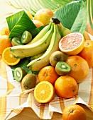 Bananen, Orangen und Kiwis auf Geschirrtuch