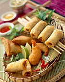Selection of fried Asian food