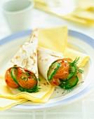 Salmon, cucumber and dill in Pitta bread cones