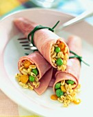 Rolled ham filled with wheat, lemon and mint tabouleh
