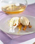 Stewed squash, lemon-flavored meringue and coffee ice cream