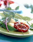 Preserved tomatoes with melted mozzarella
