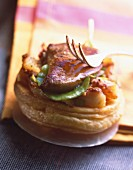 Potato and foie gras puff pastry tartlet