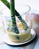 Asparagus in soft boiled egg