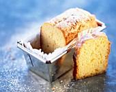 Loaf cake in tin