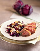 Fillet of duck breast with red cabbage