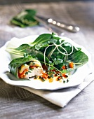 Chicken wrapped in Swiss chard leaves