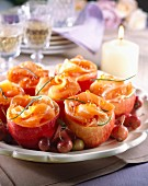 Apples stuffed with salmon