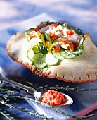Crab with cucumber and scallop roe sauce