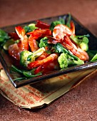Prawns with ginger and broccoli