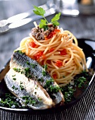 Spaghetti with sardines and anchovies