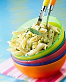 Penne rigate pasta with stewed courgettes and aubergines