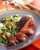 Duck breast with vegetables and chanterelles
