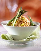 Lobster bisque risotto with asparagus tips