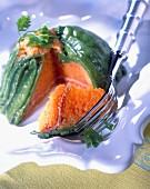 Fresh peapod and carrot charlottine
