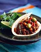 Lamb Picadillo in tortilla wrap