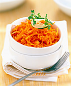 Bowl of grated carrot