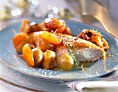 Chicken breast with fruit skewers