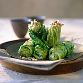 cabbage leaves stuffed with pearl barley