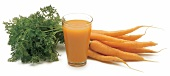 Bunch of carrots with glass of carrot juice