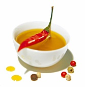 Oil with spices and red Chili pepper