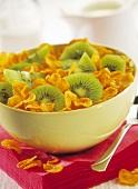bowl of cornflakes and kiwi