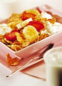 cereal, fruit and fromage frais